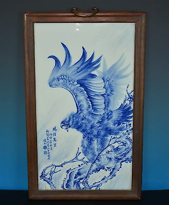 Magnificent Antique Chinese Blue And White Porcelain Plaque Marked Wang Bu J9667