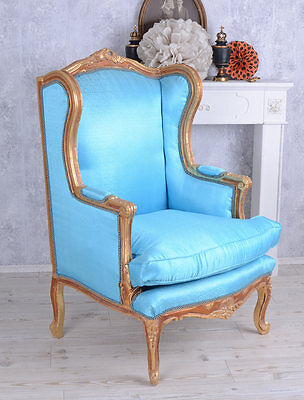 Baroque Chair Wing chair Vintage Armchair Rococo Chair Blue padded