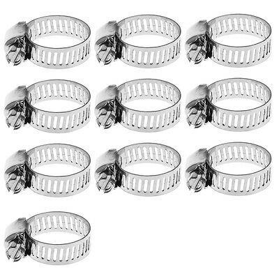 10pcs Stainless Steel Adjustable Drive Hose Clamp Fuel Line Worm Clip 3/8-5/8""