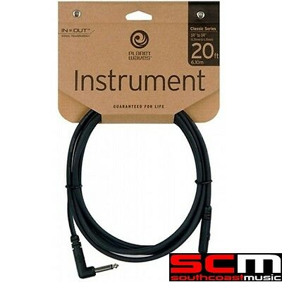 DADDARIO PLANET WAVES CLASSIC RIGHT ANGLE GUITAR CABLE 20 PW-CGT-RA20 20ft LEAD