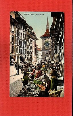 Switzerland,Bern Marktgasse nice busy Market Scene clock tower