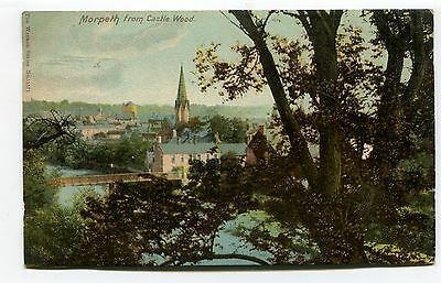 Morpeth, Northumberland - view from Castle Wood - 1905 used postcard