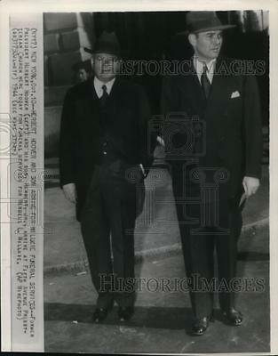 1944 Wire Photo Former President Herbert Hoover with son at the Willkie funeral