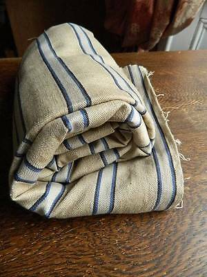 "Panel of antique linen ticking fabric - blue stripes on natural hemp 56"" x 46"""