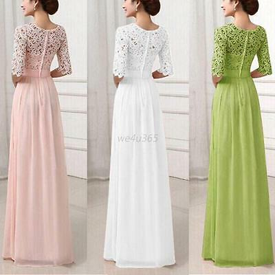 Womens Formal Long Lace Dress Ladies Prom Evening Party Bridesmaid Wedding Dress