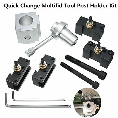 """Aluminum Quick Change Multifid Tool Post & Holder Kit For 7x10 12 14"""" Lathes"""