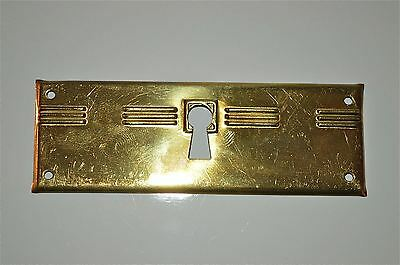 Original antique pressed brass escutcheon plate keyhole box furniture KP11