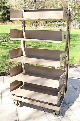 Large Vintage Industrial Metal LIBRARY BOOKCASE Cart on Wheels Removable Shelves