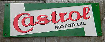 """Superb Large Heavy Painted Cast Iron Advertising Sign Castrol Motor Oil 19"""" Long"""