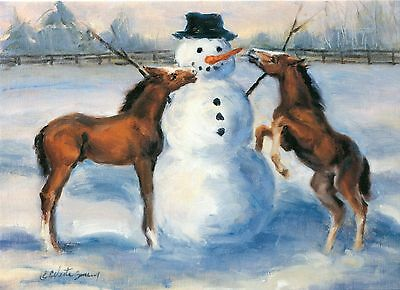 2 Packs Of 20 Total Foal, Horse & Snowman Christmas Greeting Cards, 2 Images