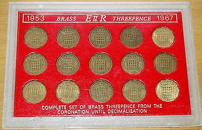 Queen Elizabeth II Complete Set Of 15 Threepence Coins In Perspex Case 1953-67 #