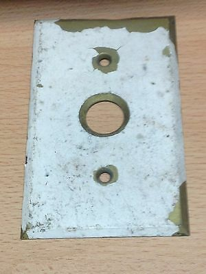 Antique Vintage Brass  Single Push Button Switch Plate Beveled Edge Part