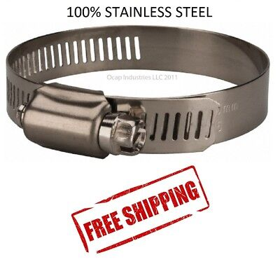 "#12 All Stainless Steel Worm Gear Hose Clamp 11/16"" TO 1-1/4"" (10 PC) MARINE"