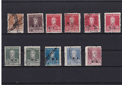 Early Argentina Official Overprints, Used