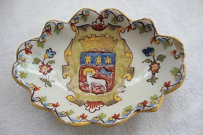 Antique Hand Painted Small Rouen Quimper Faience  Armorial Crest Dish 239/h