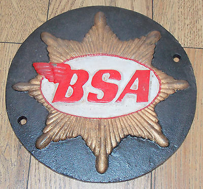 Superb Heavy Cast Iron Bsa Gold Star Motorcycles Sign Or Plaque 4 Colour