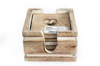6 x Vintage Shabby Chic Wooden Heart Coasters Coffee Table Drinks Cup Desk Mat