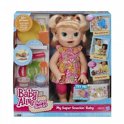 Baby Alive Super Snacks Snackin' Sara Blonde  Moving Mouth  Speaks English / ...