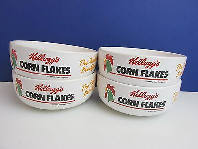 vintage 4 KELLOGGS CEREAL BOWLS corn flakes SET collectable 1991