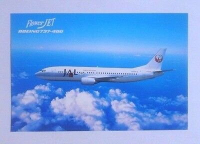 "Airline-Issued Postcard / Jal / Japan Airlines / Boeing 737-446 ""flower Jet"""