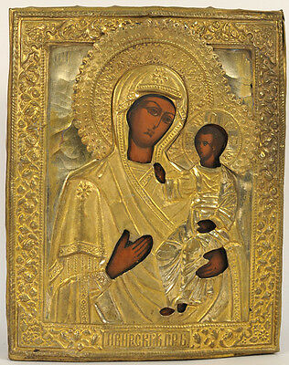c.1900 ANTIQUE RUSSIAN ORTHODOX ART RELIGIOUS ICON OUR LADY MADONNA OF IVERON