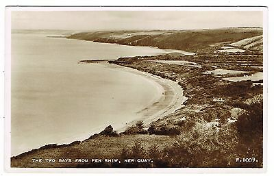 Real Photo Postcard - The Two Bays from Pen Rhiw - Newquay Cardiganshire Wales