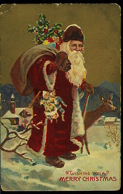 Early  Gold Decorated  Embossed Santa  Printed in Germany