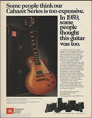 JBL Amps Cabaret Series 8 x 11 ad with 1959 Gibson Les Paul Standard guitar