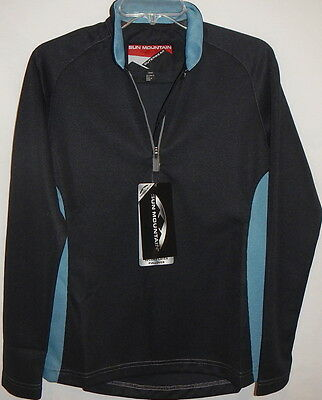 Sun Mountain Ladies thermal rib second layer 1/2zip long slv pullover Small(Bk/N
