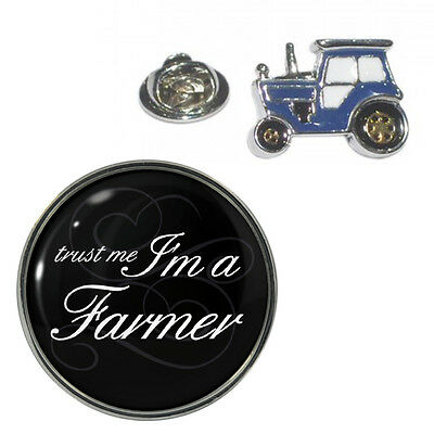 2 PACK Trust Me I'm A Farmer & 3D Detailed Blue Tractor Metal Pin Badges AJTP342
