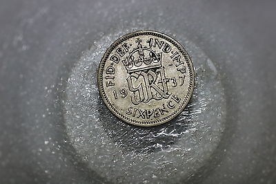 Uk Gb 6 Pence 1937 Silver A53 #k2437