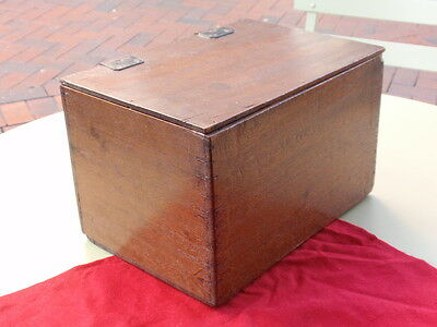 Antique Leather Hindge Flip Top Lid Hand Made Wood Wooden Box
