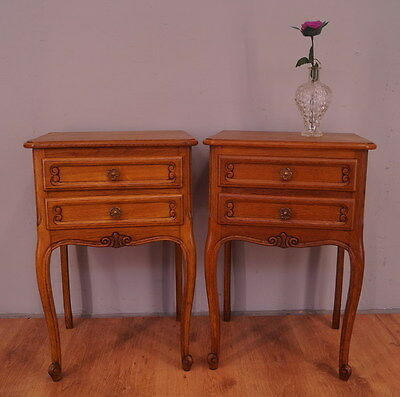 1171 !! Superb Oak Bedside Tables In Louis Xv Style !!