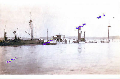 """Shipwreck"" Early 1900s Not Know What Ship or Where,2 Funnel Tug Alongsid"