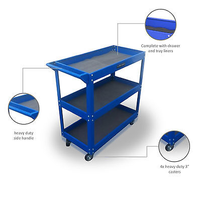149 Us Pro Tools Blue Tool Cart Trolley Steel Mobile Workstaion Box Blue 3 Tiers
