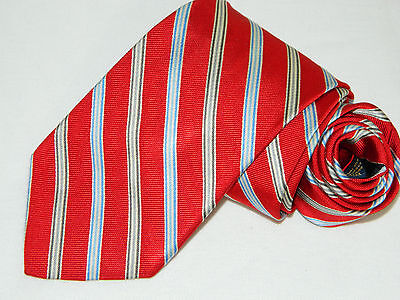 Men's Brooks Brothers Striped Red 100%Silk Neck tie made in USA