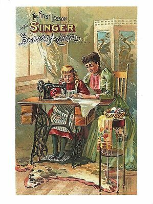 Post Card Of An Old Advestisment For Singer Sewing Machines The First Lesson