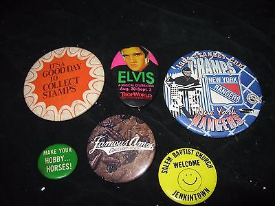 Lot of 6 Non Political Buttons Elivis, Hockey, Chocolate, Church, Horses