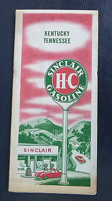 1952 Kentucky Tennessee  road  map Sinclair  oil gas pictorial guide