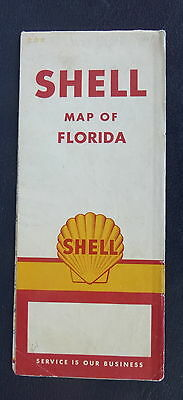 1961 Florida   road  map Shell  oil gas