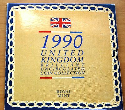 Royal Mint 1990 UK Brilliant Uncirculated 8 Coin Set Collection Slight Wear #