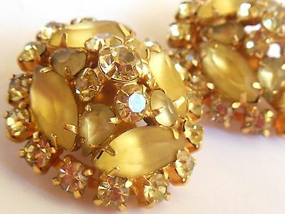 Glam Vintage 1950's gold tone citrine CRYSTAL rhinestones GIVRE clip on earrings