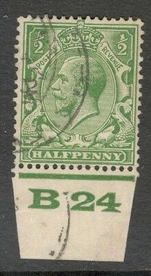 George V - SG 418 - 1/2d Green - Block Cypher - Control B 24 - Used