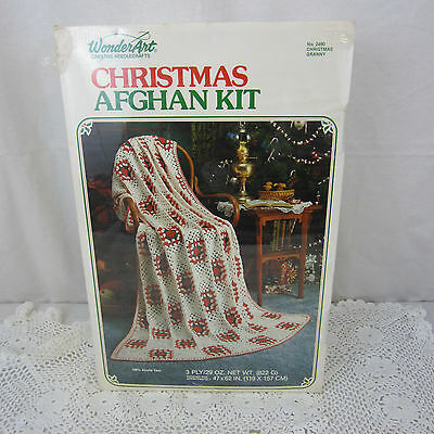 "Vintage WonderArt Christmas Retro Afghan Crochet Kit No 2490 NEW 47"" x 62"""