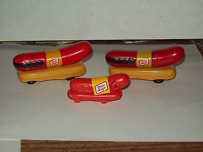 Vintage-Food-Advertising-OSCAR MAYER-Lot-of 3-Cars-Whistle-Hot Dog-Toy