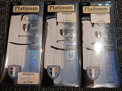 NEW! (3) US Glove USG Platinum Cabretta Leather Golf Glove Pack - RH Small