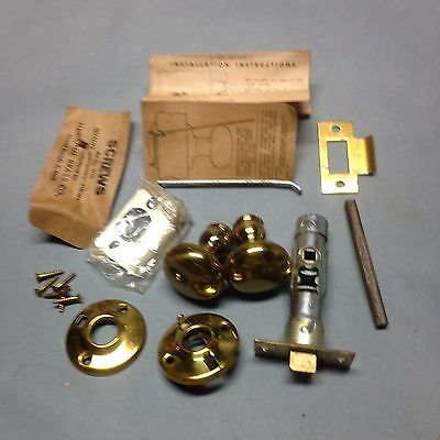 Antique Vintage Brass (Nos) Passage Door Knob Lock Set Parts