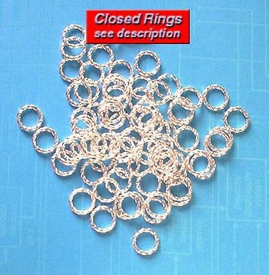 50 SP 8mm closed twisted jump rings, findings for jewellery making crafts