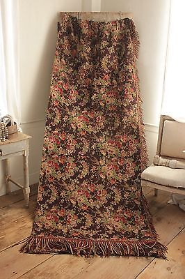 Antique French curtain c 1850 Challis printed wool cotton drape old