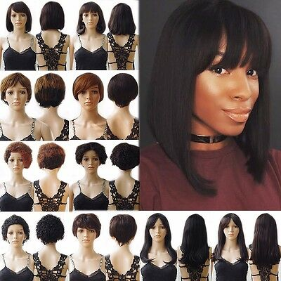 New Brazilian Remy Short Human Hair Wig Natural Curly Straight Wave Full Wigs #D